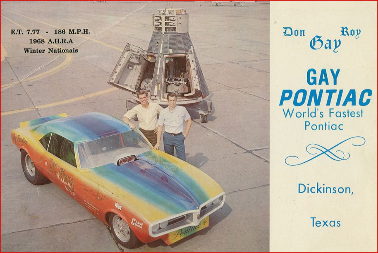 Gay Pontiac postcard featuring Don and Roy Gay - 1968