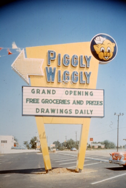 Piggly Wiggly sign - location unknown - 1950s