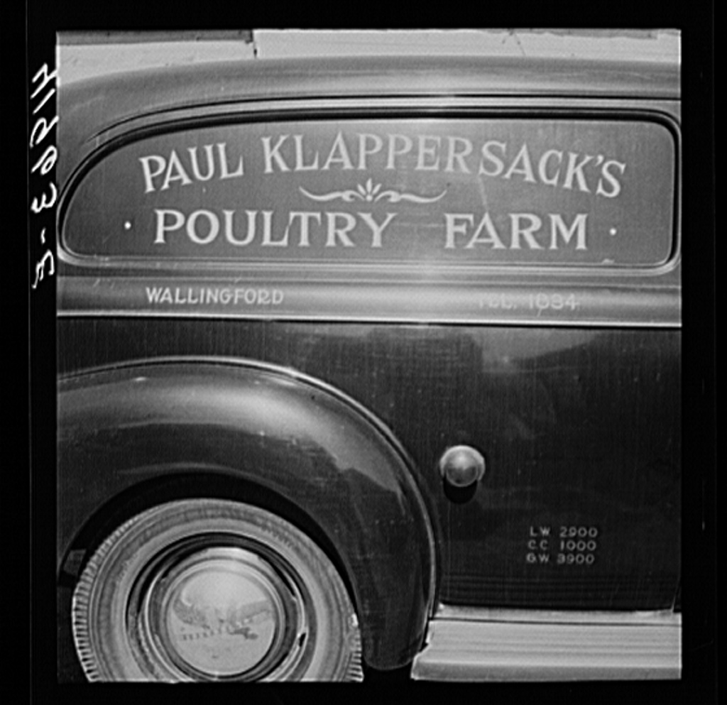 'Mr. Paul Klappersack, Jewish poultry farmer, was able to buy his poultry truck with the aid of FSA (Farm Security Administration). Wallingford, Connecticut Creator(s): Delano, Jack, photographer Date Created/Published: 1940 Sept. Source: Library of Congress