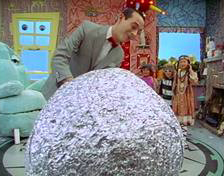 Pee-Wee Herman and his foil ball