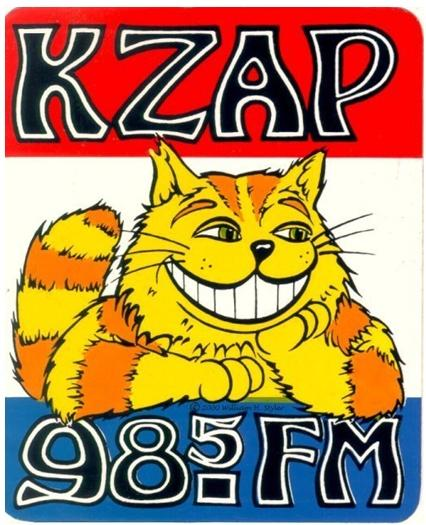 The original KZAP cat logo from the station's days at 98.5 from 1968 through 1992.